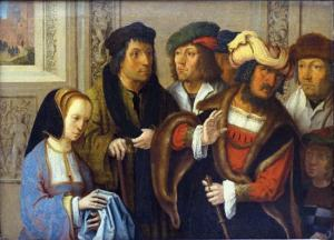 painting of a woman and a group of men in Dutch clothing form early 1550s and