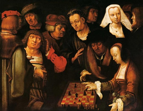 painting by Lucas van Leyden of a group of people wantching a man and a woman play courier chess